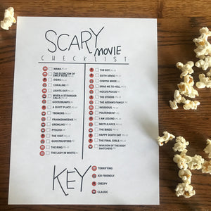 Scary Movie Bingo+ Movie Checklist Printable