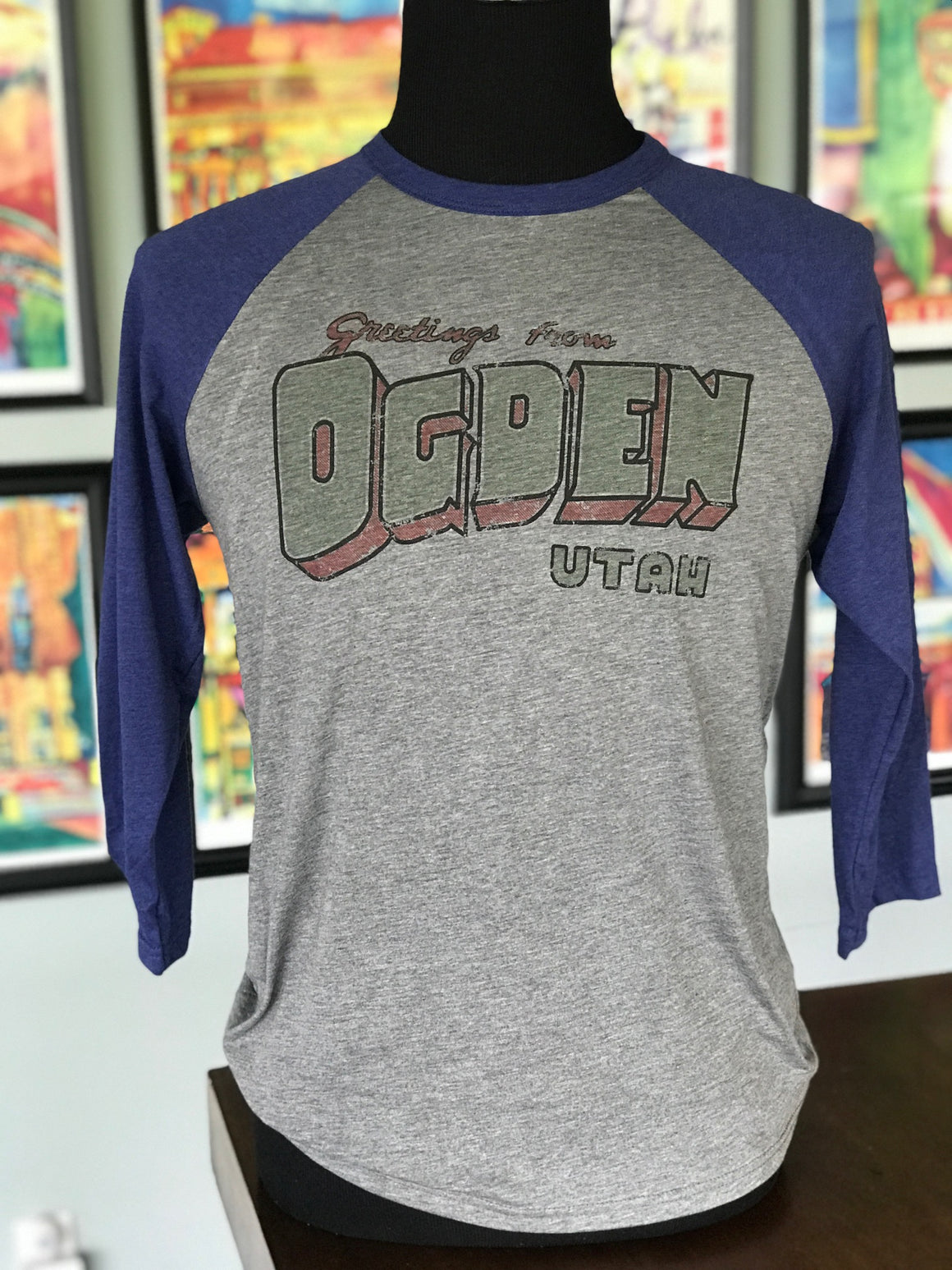 Greetings from Ogden Baseball Tee(Blue Sleeve)