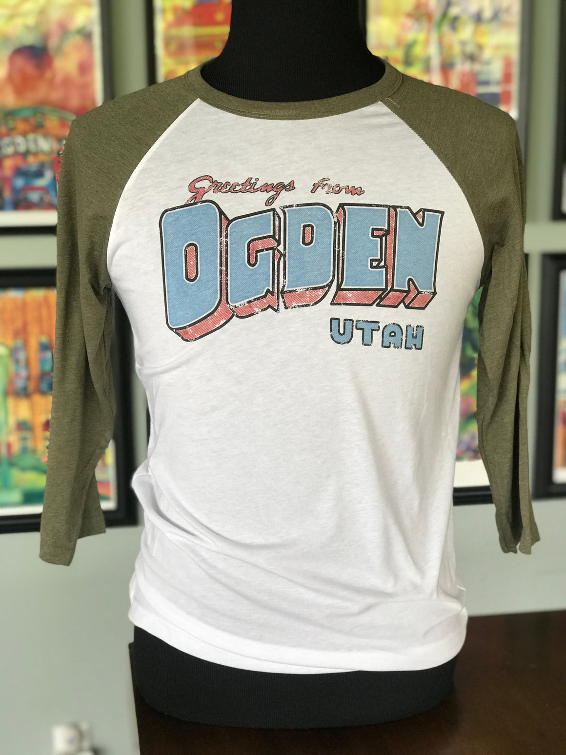 Greetings from Ogden Baseball Tee (Green Sleeve)