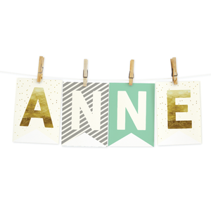 Bunting Banners-Mint, Grey and Gold