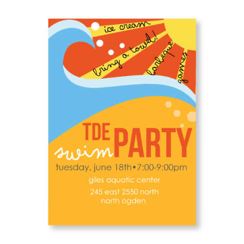 Wave Swim Party Invitation