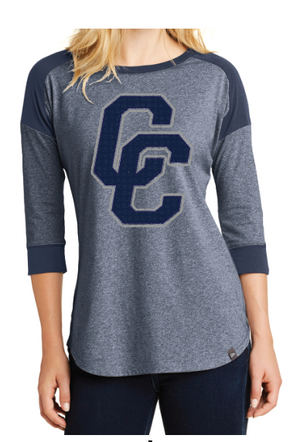 New Era® Ladies Heritage Blend 3/4-Sleeve Baseball Raglan Tee (NEA104) True Navy