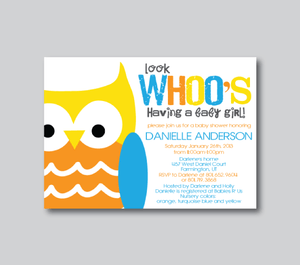 Baby Shower Invitations-Whoo's Having A Baby?