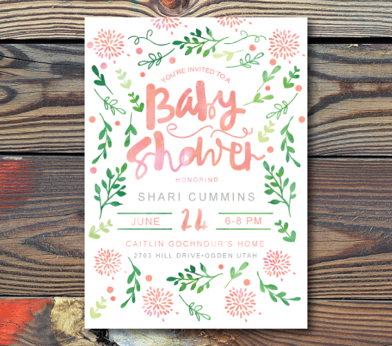 Baby Shower Invitations-Watercolor