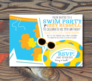Birthday Invitations-Pool Party