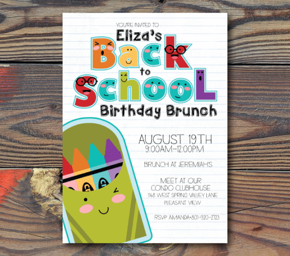 Party Invitations-Back to School