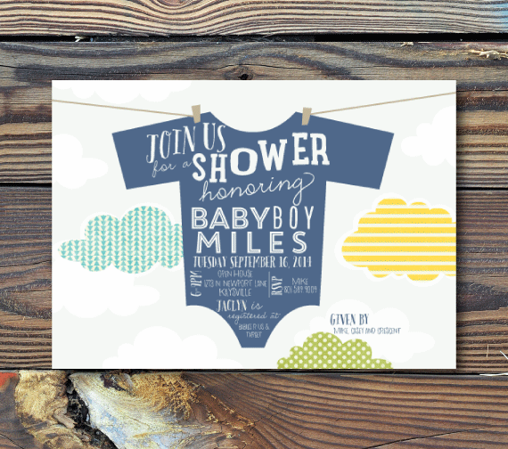 Baby Shower Invitations-Clothesline