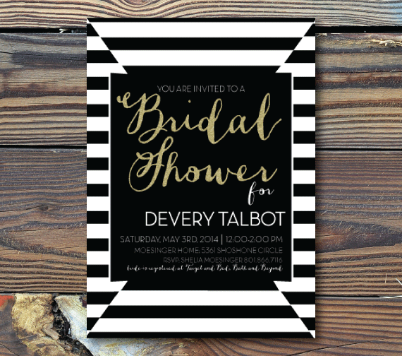 Bridal Shower Invitations-Black and White