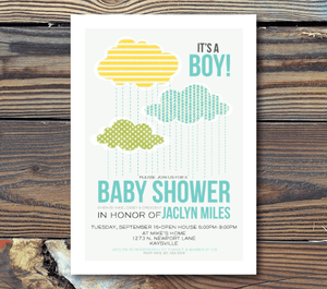 Baby Shower Invitations-Rain
