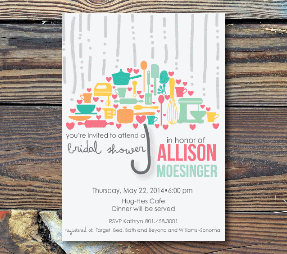 Bridal Shower Invitations-Umbrella