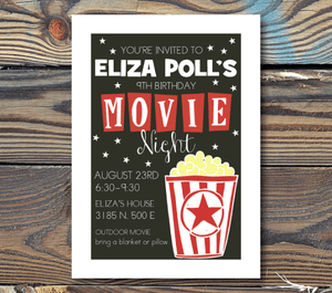 Birthday Invitations-Movie Night