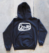 Black grantLOVE hoodie with WHITE