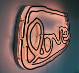 Medium LOVE neon (black on pale pink)