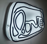 Small LOVE neon (black on white)