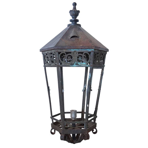 Large American Cast Iron and Bronze Hexagonal Street Light Lantern