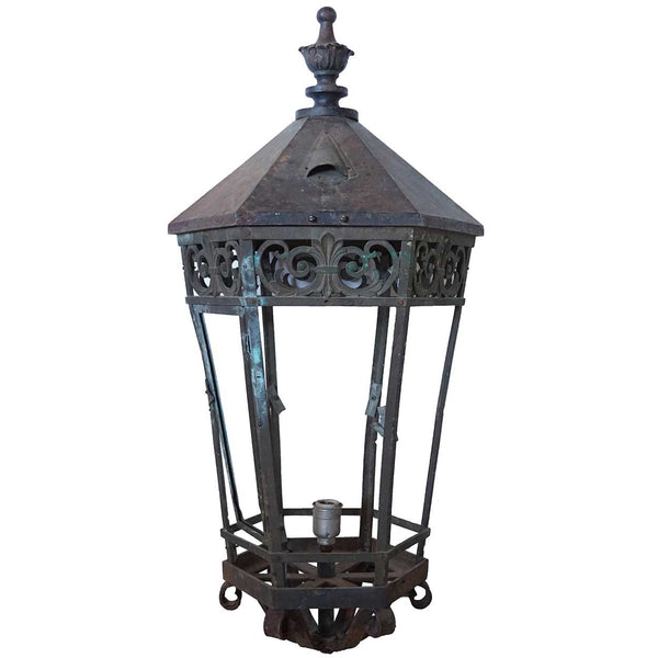 Large American Cast Iron and Bronze Hexagonal Street Light Post Lantern