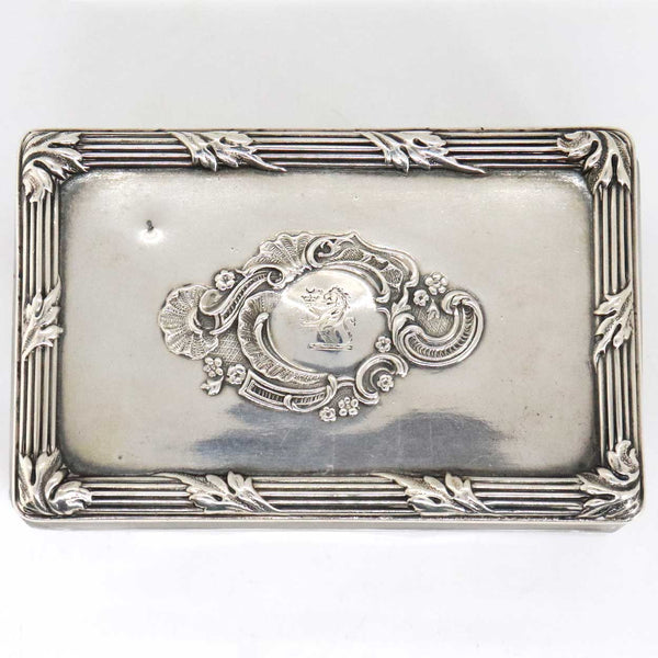 Small French Louis XV Revival Silver Armorial Lid Glass Rectangular Dresser Box