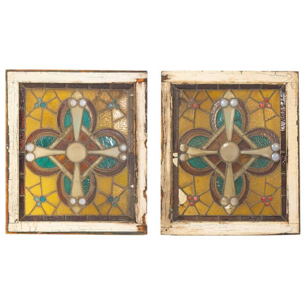 Pair American Victorian Leaded and Stained Glass Jeweled Windows