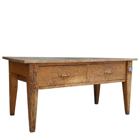 American Belcaro Mansion Maple and Pine Two-Drawer Kitchen Work Table