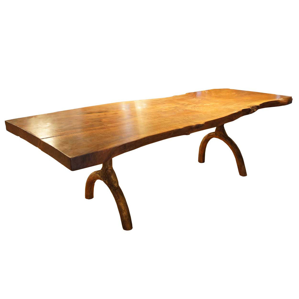 Large American Hudson Furniture Live Edge Solid Walnut Slab Dining Table