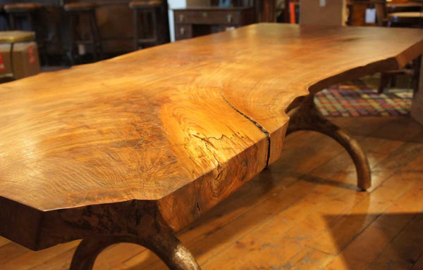 Large American Hudson Furniture New York Live Edge Solid Walnut Slab Dining Table