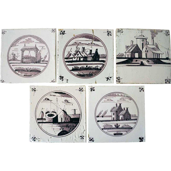 Collection of 5 Dutch Delft Pottery Manganese Glaze House Tiles