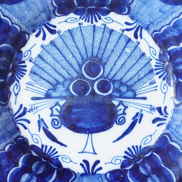 Dutch Delft Blue and White Pottery Peacock Pattern Plate