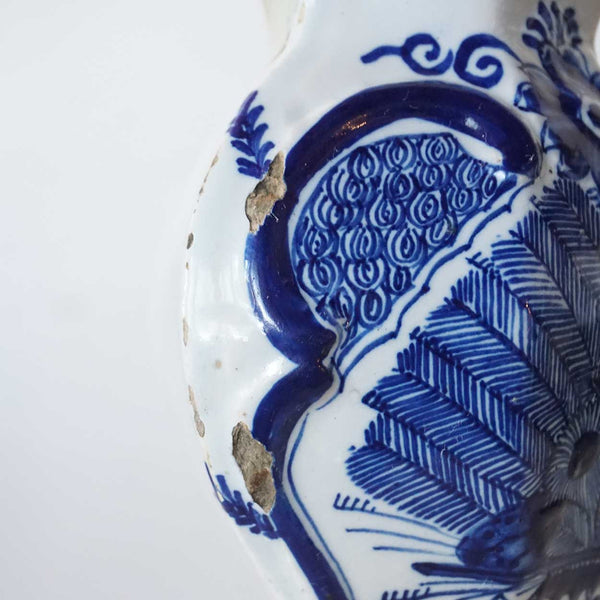 Dutch De Klauw Delft Blue and White Pottery Peacock Garniture Baluster Vase