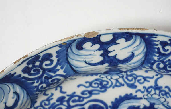 Dutch Delft Blue and White Pottery Angel Charger Plate
