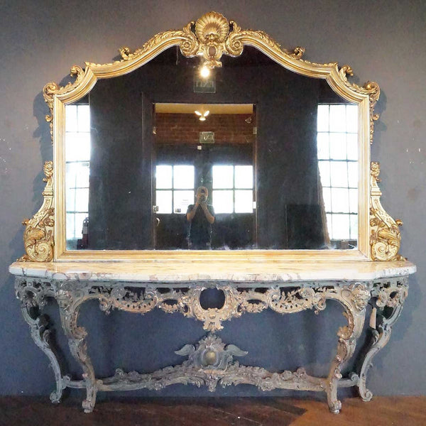 Very Large Italian Rococo Style Gilt, Marble and Painted Console and Mirror