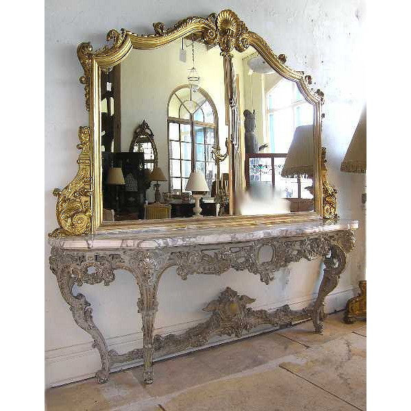 Italian Rococo Style Gilt and Painted Console and Mirror