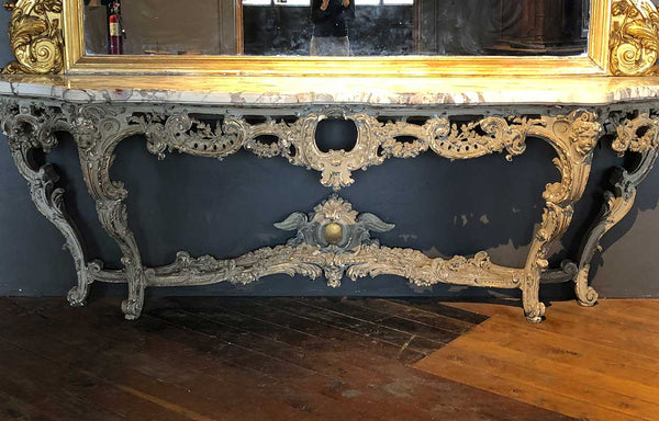 Large Italian Rococo Style Gilt and Painted Console and Mirror