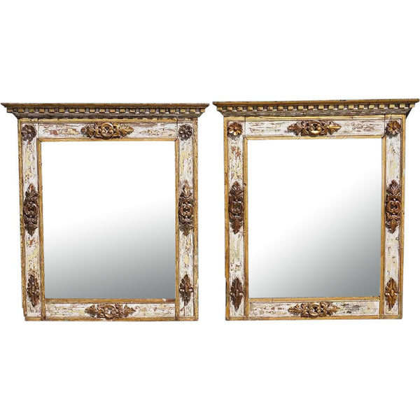Large Pair of Indo-Portuguese Parcel Gilt, Painted and Gesso Teak Mirrors