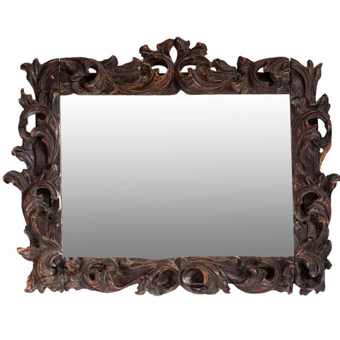 Early Continental Baroque Pine Mirror