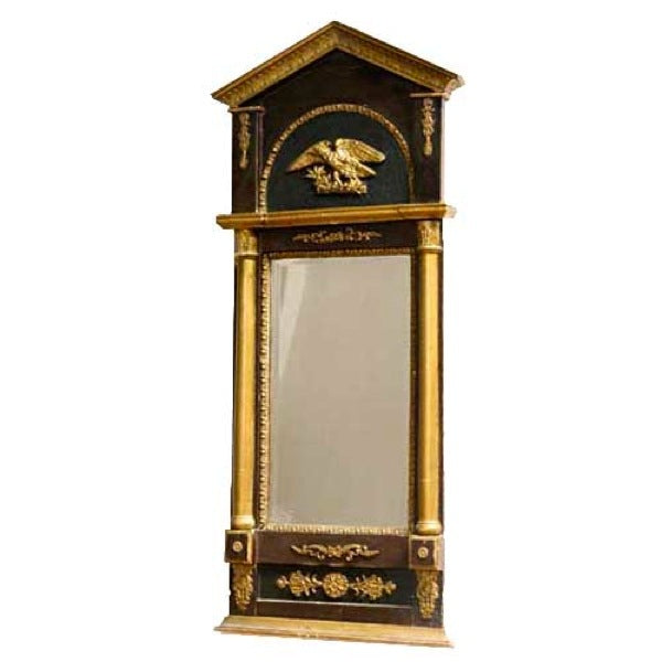 Swedish Karl Johan Parcel Gilt and Ebonized Pine Wall Mirror