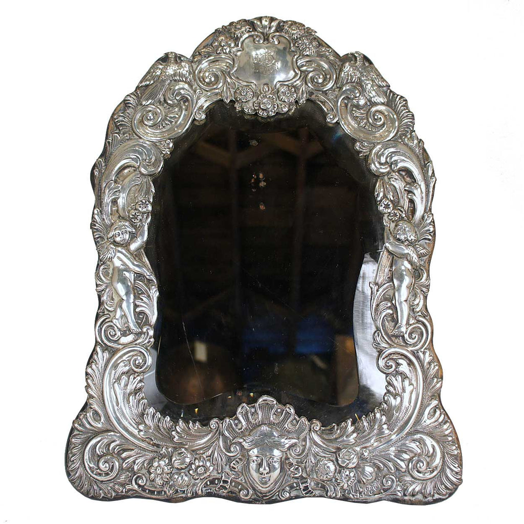 Antique English Victorian Sterling Silver Dressing Table Mirror