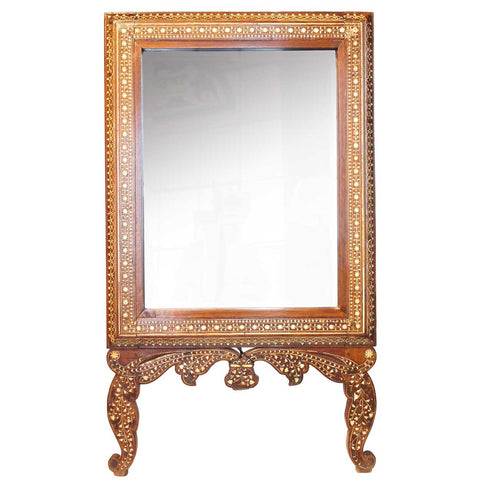 Anglo Indian Hoshiarpur Ivory Inlaid Rosewood Easel Mirror