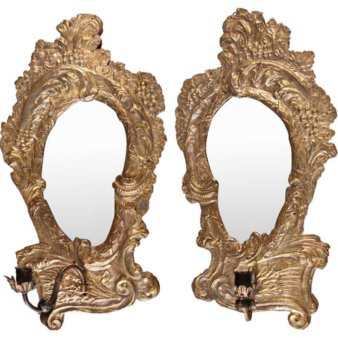 Pair of Italian Rococo Revival Brass Repousse Mirrored One-Light Sconces