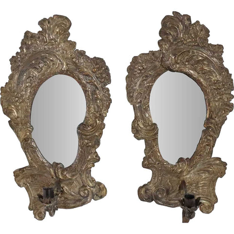 Pair of Italian Rococo Revival Brass Repousse Mirrored One-Light Candle Sconces