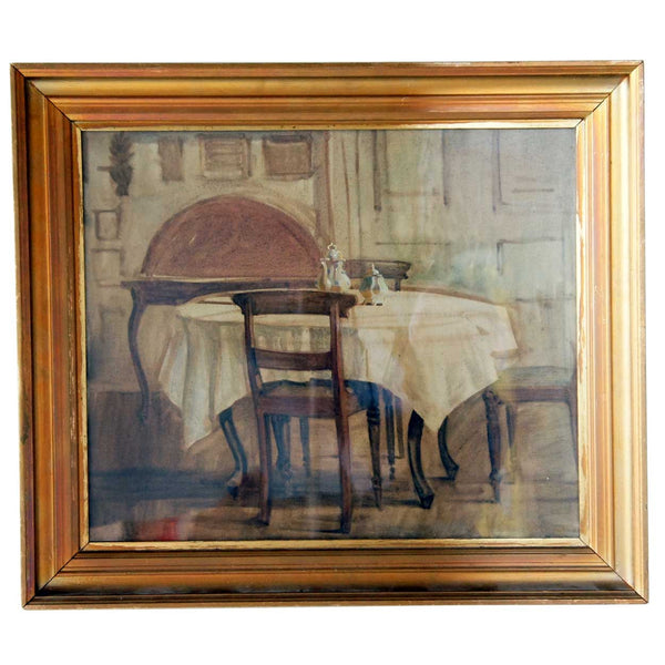 KNUD SINDING Oil on Canvas Painting, Interior Scene, the Artist's Home