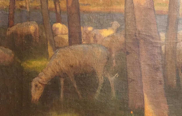 CHARLES WILLIAM BARTLETT Oil on Canvas Painting, Sheep Grazing near Chalk Cliffs