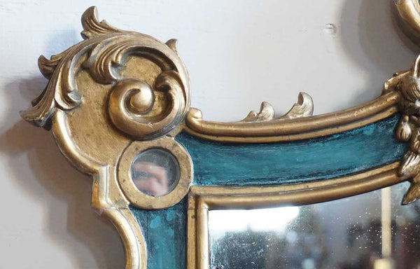 Large French Rococo Revival Gilt and Green Painted Pine Two-Panel Mirror