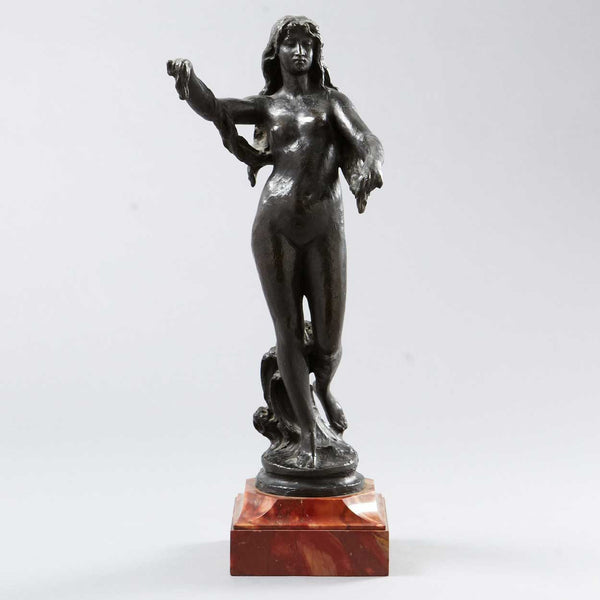 French Bronze Venus Statue with Stone Base