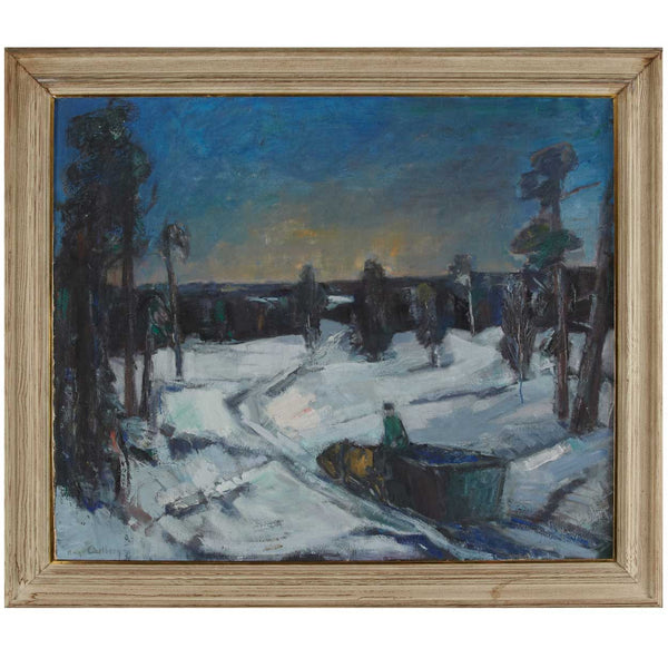 HUGO CARLBERG Oil on Canvas Painting, Winter Landscape