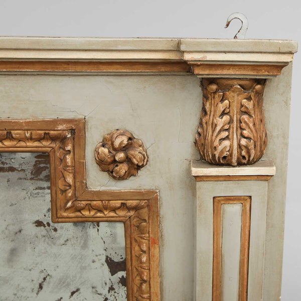 Swedish Gustavian Style Painted Wood and Gilt Overmantel Mirror