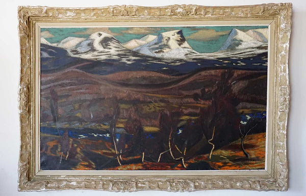 RUNE HAGMAN Oil on Canvas Painting, Mountain Landscape