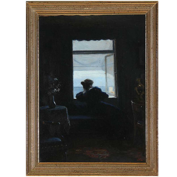 CHRISTIAN CLAUSEN Oil on Canvas Painting, Interior with a Woman