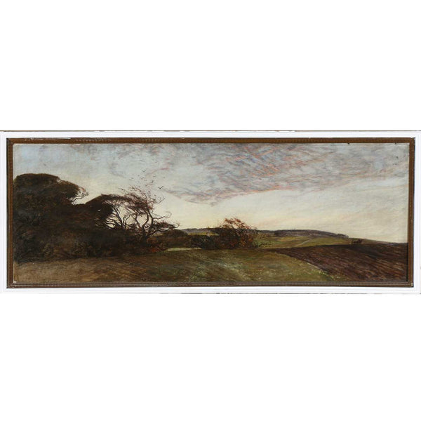 Danish School Oil on Canvas Painting, Landscape with Cloud Formations