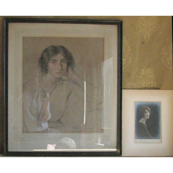 HELEN CATHERINE BEDFORD Charcoal and Pencil Drawing, Portrait of Nesta Llewellyn