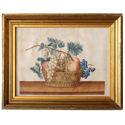 American Watercolor Theorem Painting, Still Life with Fruit Basket